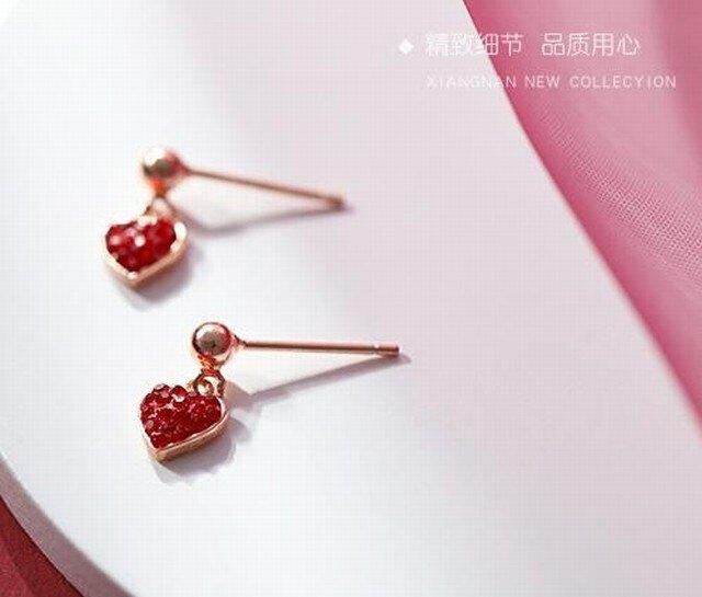 925純銀小紅愛心系列耳環