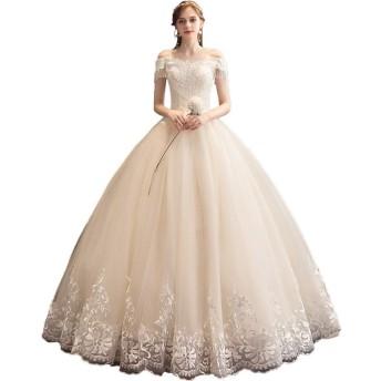 ウェディングドレス レディース 花嫁フリンジ袖ワンショルダーの花嫁のウェディングドレスのための女性のレースのウェディングドレス 高級感 (色 : Champagne, Size : S)