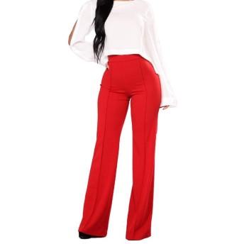 KAKACITY 女性のカジュアルなズボンスリム薄いハイウエストワイドレッグパンツソリッドカラーのズボンのズボン (色 : レッド, サイズ : XL)