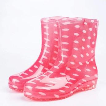 ZHHT レインブーツ 女性用レインブーツ キッチンシューズ チューブ滑り止め防水靴の四季 ハイトップ作業靴ゴム靴