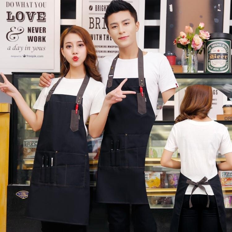 圍裙 牛仔帆布繪畫圍裙定制logo網咖服務員快餐店奶茶店咖啡廳工作圍裙