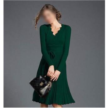 JIANYI JP ドレスレースVネックセクシーなスリム長袖ネクタイロングプリーツスカート (Color : Claret, Size : F)