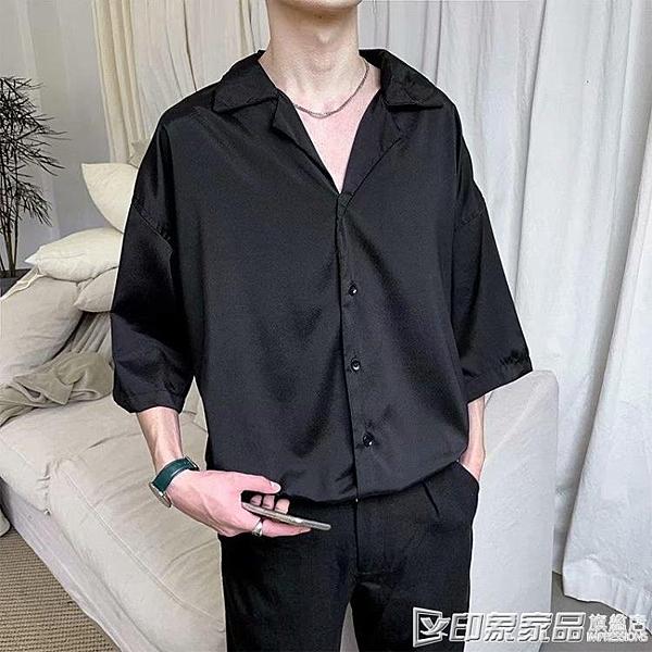 夏季襯衫男韓版寬鬆潮流百搭帥氣七分袖發型師很仙的襯衣男士短袖 印象家品
