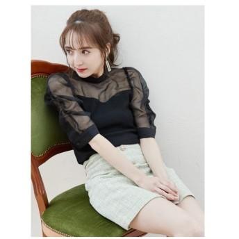 MIIA(ミーア)ツィードビジュー台形スカート
