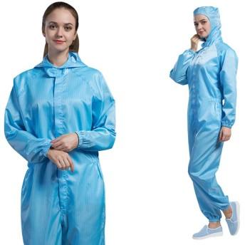 フルボディアンチスタティック防護服、男性と女性のワンピースダストフリーウェア、防水、防塵には、快適で通気性のオーバーオール,ブルー,XXXXL