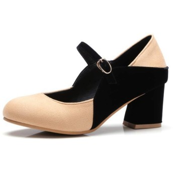 [GoldFlame] アンクルストラップ パンプス 太いヒール 7CM 安定感 スエード調 女性用 ラウンドトゥ 歩きやすい コスプレシューズ 大きいサイズ おしゃれ 普段履き パーティー カラーマッチング グレー 赤 ベージュ