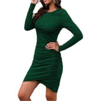 FRPE Women Long Sleeve Crewneck Irregular Bodycon T-Shirt Dress Green US S