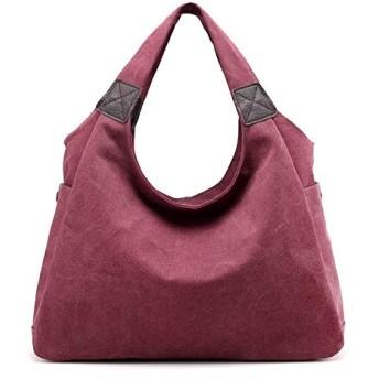HVTKLN 2020新しいハンドバッグショルダーバッグファッションレジャー通勤野生のシンプルなソリッドカラーの大容量ポータブルキャンバスバッグ HVTKLN (Color : Purple color, Size : 41X30X19CM)
