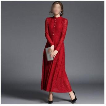 JIANYI JP スタンドアップカラーストレートレースのドレスロングスカートスリムドレスの女性 (Color : Red, Size : L)