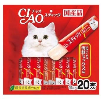 (まとめ)CIAO スティック まぐろ 海鮮ミックス味 15g×20本 (ペット用品・猫フード)〔×16セット〕