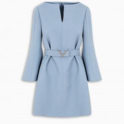 Valentino Light blue V belted dress