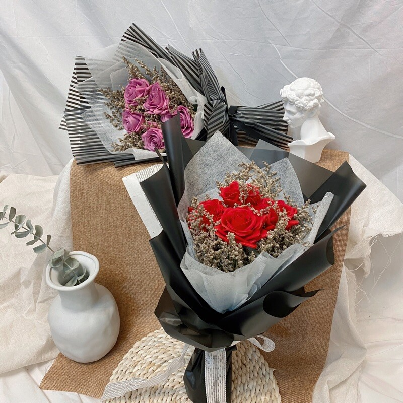 晞無悔 五朵玫瑰情人節限定花束 乾燥花束 - 花束含提袋花束顏色麻煩備註喲