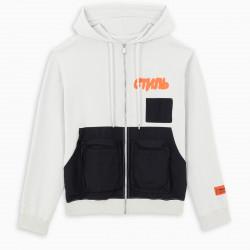 Heron Preston White zipper hoodie