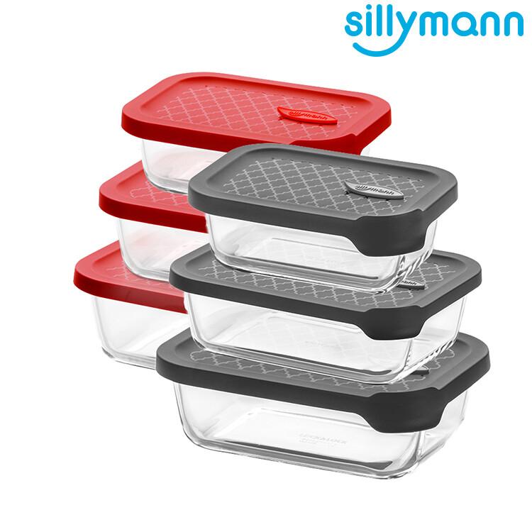 韓國sillymann 長方型三件組-100%鉑金矽膠微波烤箱輕量玻璃保鮮盒組