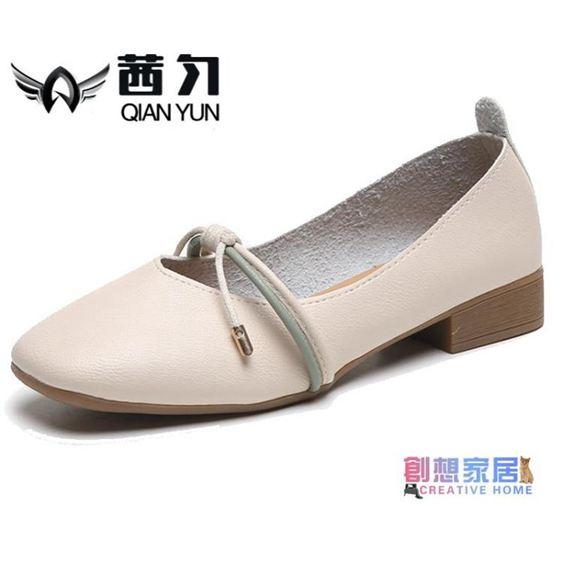 豆豆鞋 單鞋女中跟小皮鞋新品夏季淺口奶奶鞋百搭粗跟復古仙女豆豆鞋
