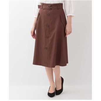 OFUON 【洗える】トレンチフレアスカート その他 スカート,オレンジ