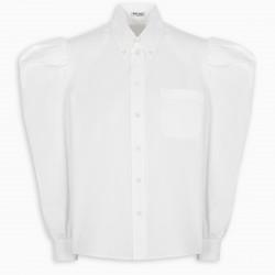 Miu Miu White ruched sleeve blouse