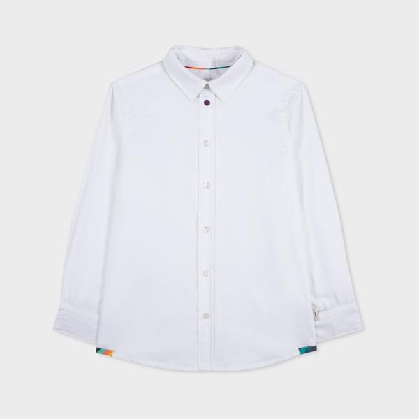 2-6 Years White Cotton Shirt With 'Artist Stripe' Cuff Lining