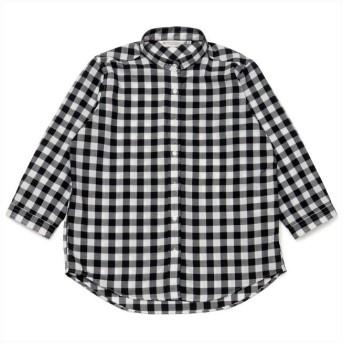 トーキョーシャツ シャツ 七分袖 形態安定 やわらかガーゼ スタンド衿 綿100% レディース レディース クロ・グレー S 【TOKYO SHIRTS】