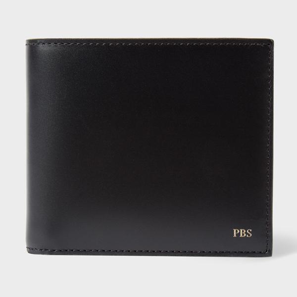 Men's Black Leather Monogrammed Billfold Wallet