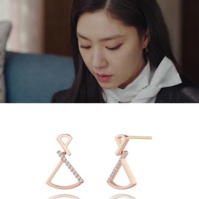 梨花HaNA 韓國925銀愛的迫降第8集徐丹扇型玫瑰金耳環