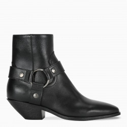 Saint Laurent Black West Harness ankle boots