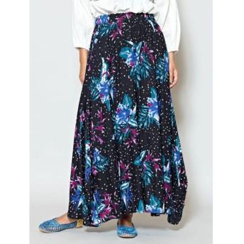 【チャイハネ】フラワー柄ロングスカート ブラック