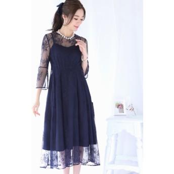 (BLUEEAST/ブルーイースト)袖付きウエストタック総レースフレアードレス ドレス/レディース ネイビー