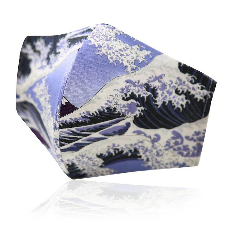 3D款可重複使用成人透氣純棉進口布口罩套(浮世繪海浪)
