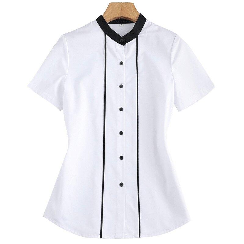 短袖襯衫制服上衣-修身撞色立領簡約OL女裝2色73mq86【獨家進口】【米蘭精品】