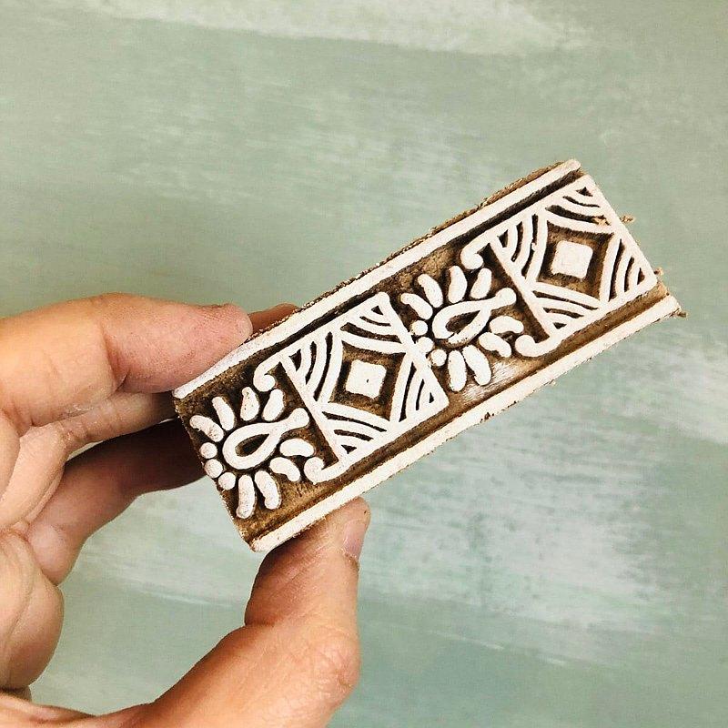 細緻花磚木刻手工印章
