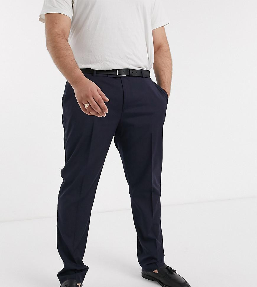 ASOS DESIGN Plus skinny tuxedo suit trouser in navy