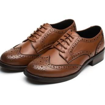 [NUOMK] マーチンシューズ レディース ポストマンシューズ カジュアルシューズ ワークシューズ カジュアル ブラウン アウトドア オックスフォード 通学 通勤 レースアップ パンプス シューズ 靴 おじ靴 25.0cm ヒール 女性用 かわいい