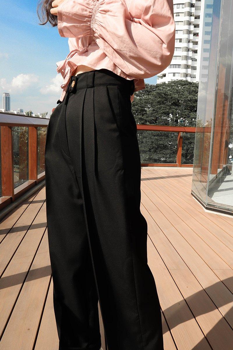 高腰叔叔褲:黑色