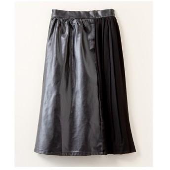 スカート ロング丈 マキシ丈 大きいサイズ レディース 異素材 サイド プリーツ 合皮 LL/3L ニッセン