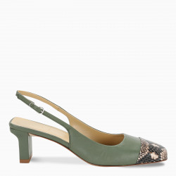 aeyde Green and phyton Drew slingback sandals