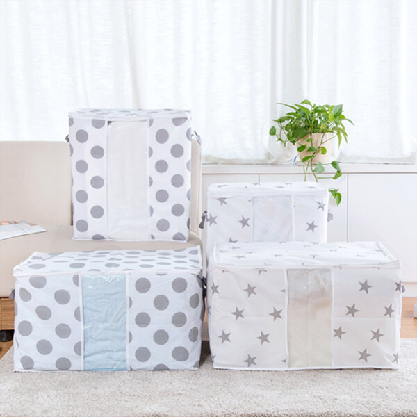 居家寶盒1入 小號星星無紡布大容量棉被收納袋 防潮防塵袋 衣物棉被整理袋 行李袋 打包袋