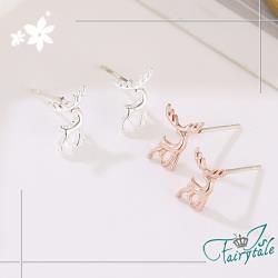 【伊飾童話】迷你馴鹿*銅電鍍貼耳式耳環/2色可選