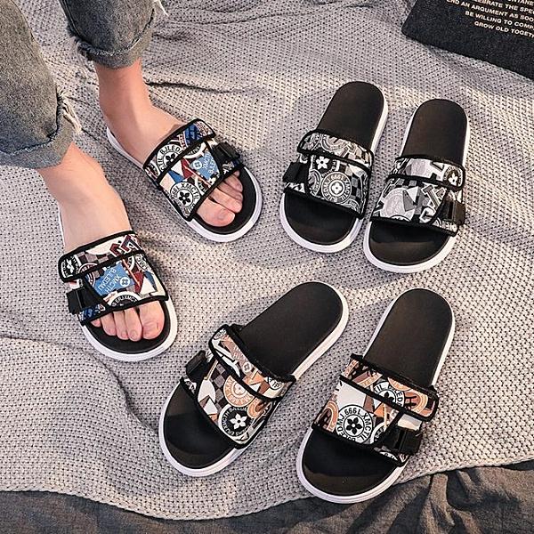 2020夏季新款拖鞋男時尚外穿韓版一字拖情侶室外防滑網紅涼鞋潮流