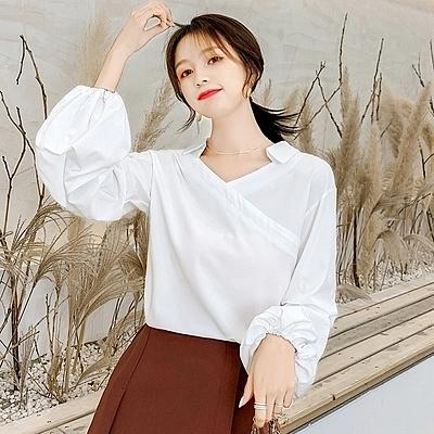 大碼女裝 長袖襯衫 長袖燈籠袖條紋氣質網紅襯衫上衣雪紡襯衣FF1FA027衣時尚