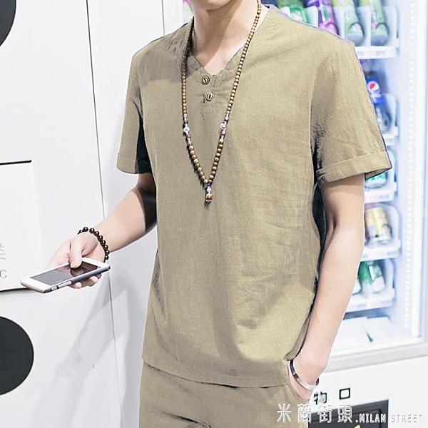 夏季棉麻體恤男士亞麻短袖T恤潮流中國風休閒上衣服夏裝