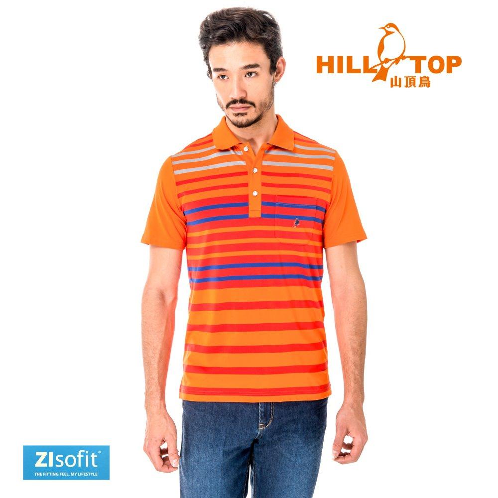 【hilltop山頂鳥】男款吸濕排汗抗UV彈性POLO衫S14MF5-橘