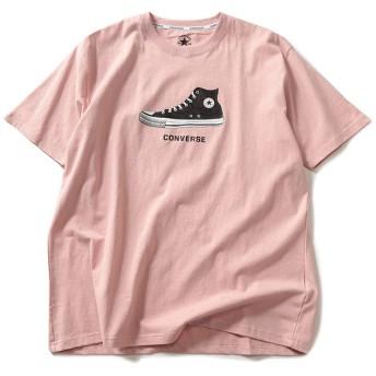 サカゼン CONVERSE 大きいサイズ メンズ 天竺 スニーカー ドットラバープリント クルーネック 半袖 Tシャツ ピンク / 5L