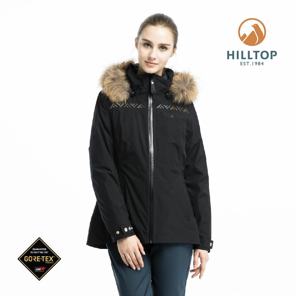 【hilltop山頂鳥】女款GORE-TEX三合一防水羽絨拆袖短大衣F22FZ3黑美人