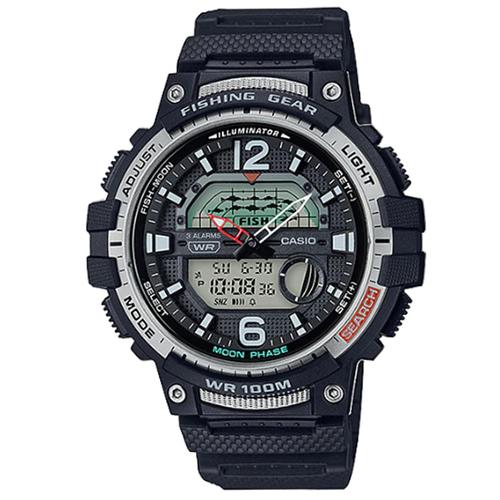 CASIO 卡西歐多時區魚汛鬧鈴雙顯電子錶-黑 / WSC-1250H-1A (台灣公司貨)