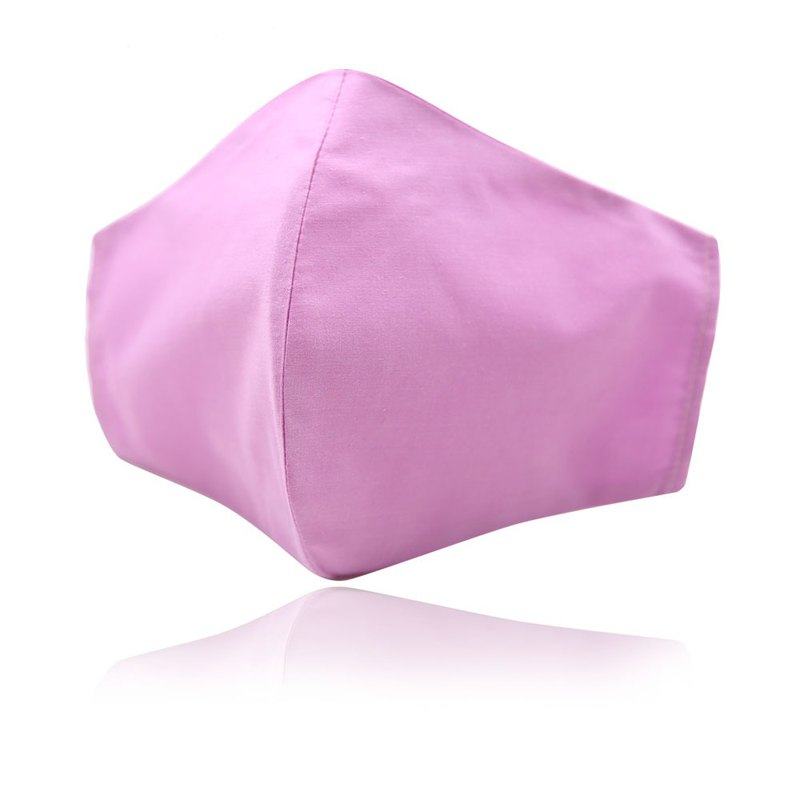 3D款素面可重複使用成人透氣純棉進口布口罩套(淺紫)