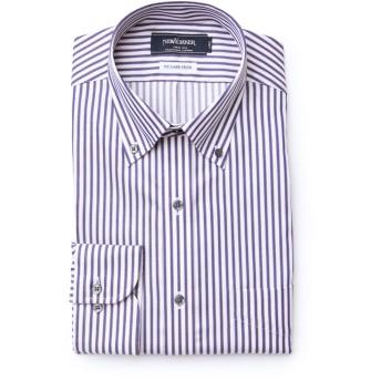NEWYORKER 【NY CARE FREE】ロンドンストライプ / 長袖ボタンダウンシャツ ドレスシャツ,ネイビー(75)