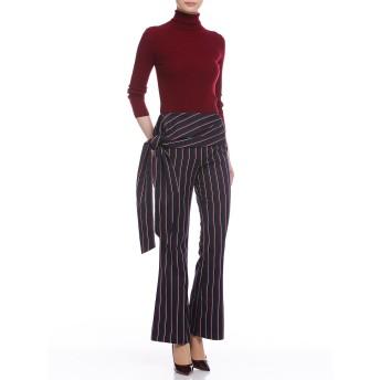 【75%OFF】Asymmetrical stripe ウエストデザイン パンツ ネイビー l