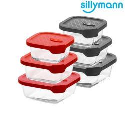 【韓國sillymann】 正方型三件組-100%鉑金矽膠微波烤箱輕量玻璃保鮮盒組