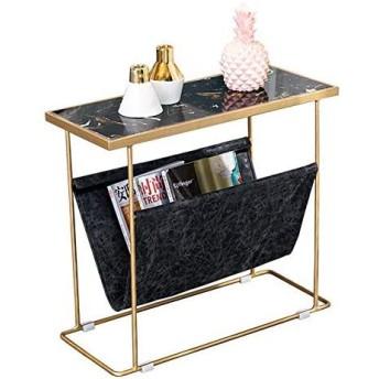 スタイリッシュなモダン マーブル卓上サイド/リビングルームコーヒーテーブル/電話テーブル/ベッドルームベッドサイドテーブル/ 2層のストレージシェルフ61.5  26  54cmの (Color : A)
